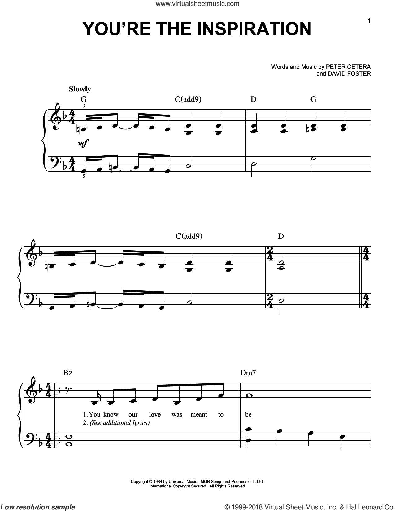You're The Inspiration sheet music for piano solo by Chicago, David Foster and Peter Cetera, beginner skill level
