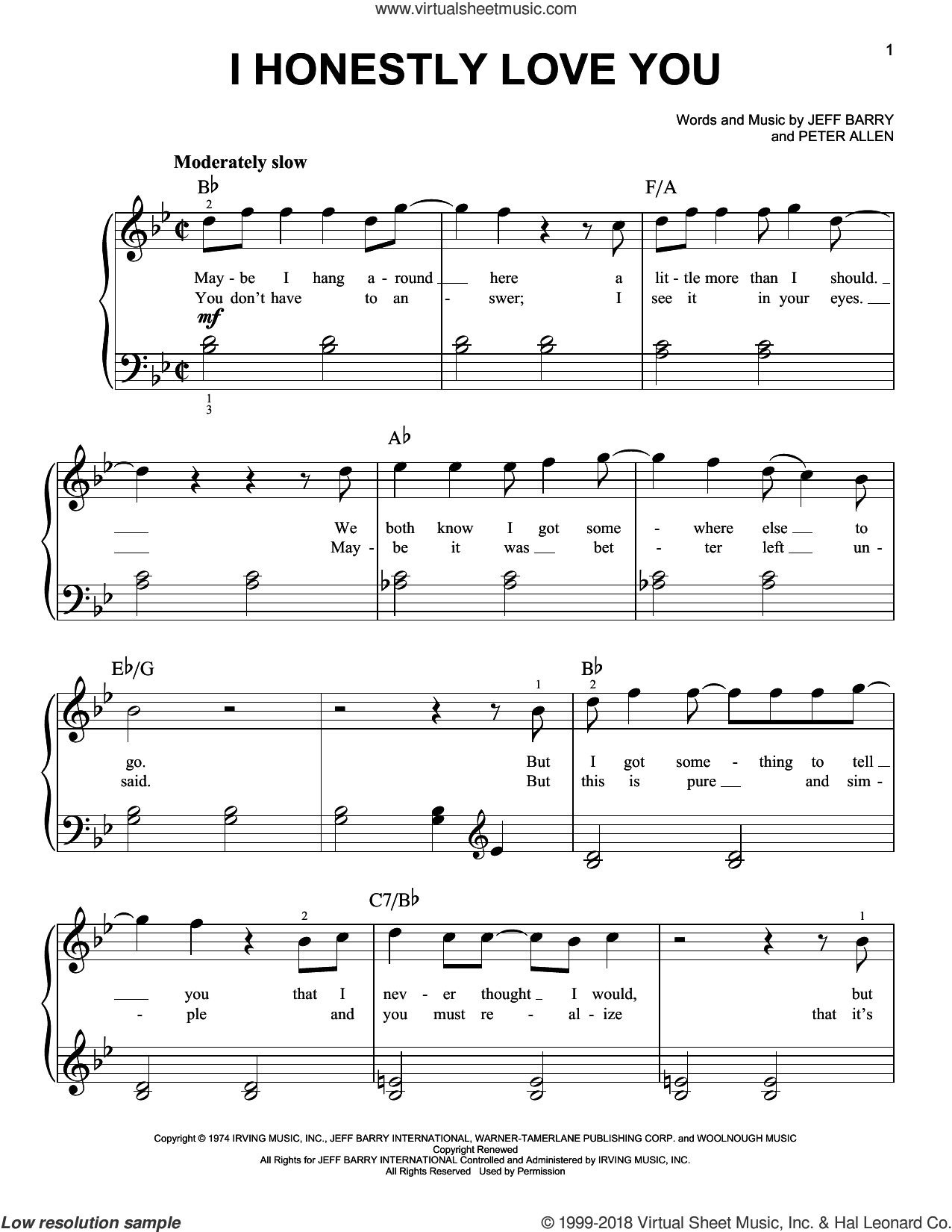 I Honestly Love You sheet music for piano solo by Olivia Newton-John, Jeff Barry and Peter Allen, beginner skill level