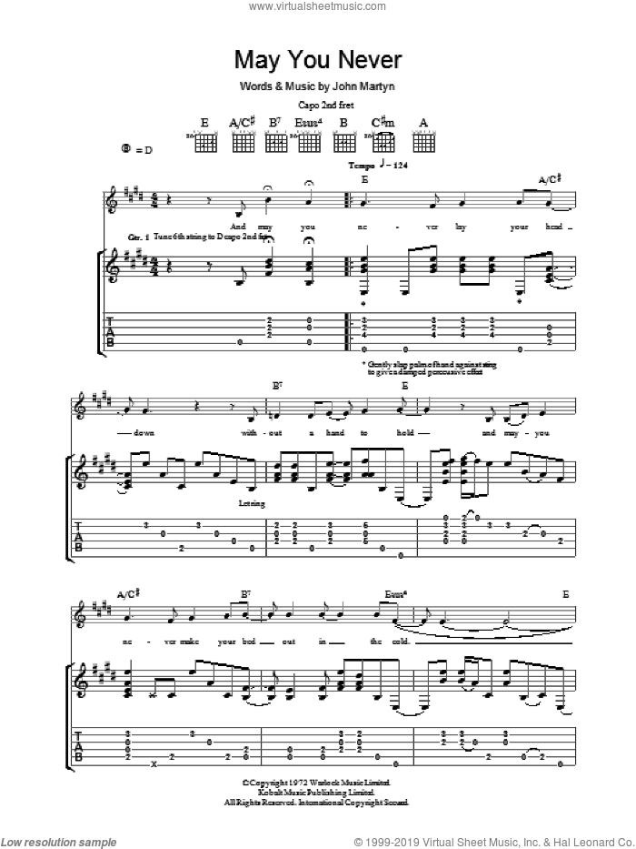 May You Never sheet music for guitar (tablature) by John Martyn