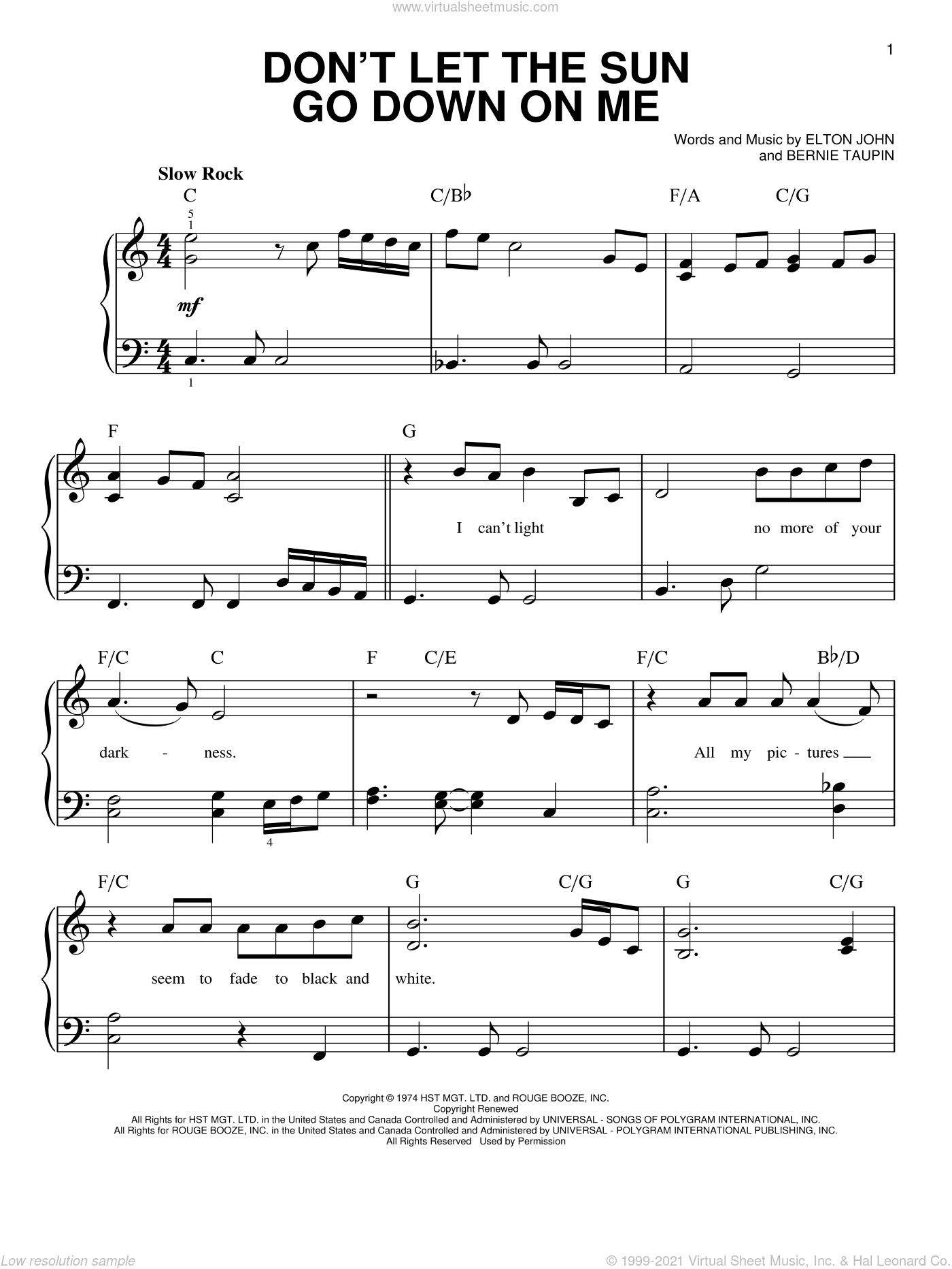 Don't Let The Sun Go Down On Me sheet music for piano solo by Elton John & George Michael, Bernie Taupin and Elton John, beginner skill level