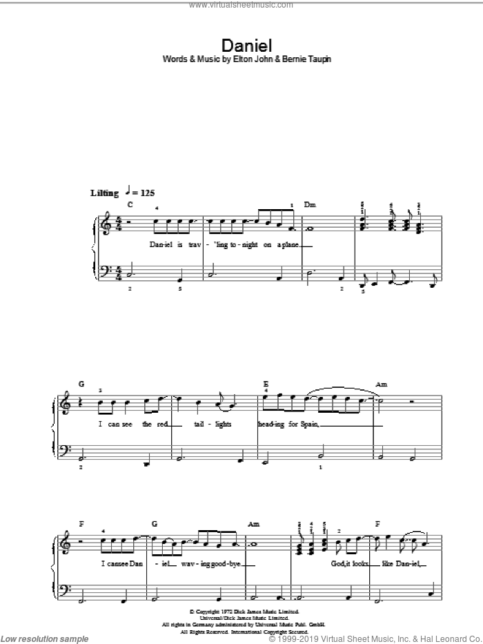 Daniel (Chorus Only) sheet music for piano solo by Elton John and Bernie Taupin, easy skill level