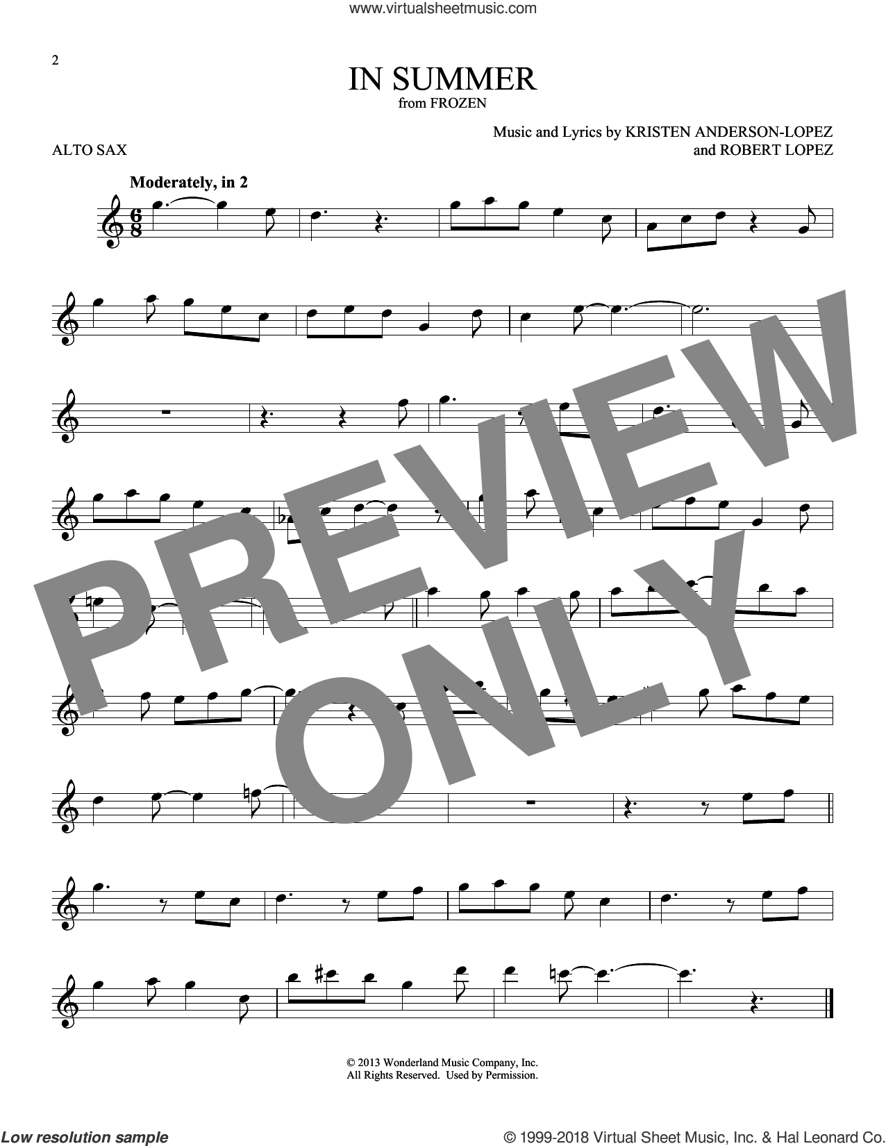 In Summer (from Disney's Frozen) sheet music for alto saxophone solo by Josh Gad, Kristen Anderson-Lopez and Robert Lopez, intermediate skill level