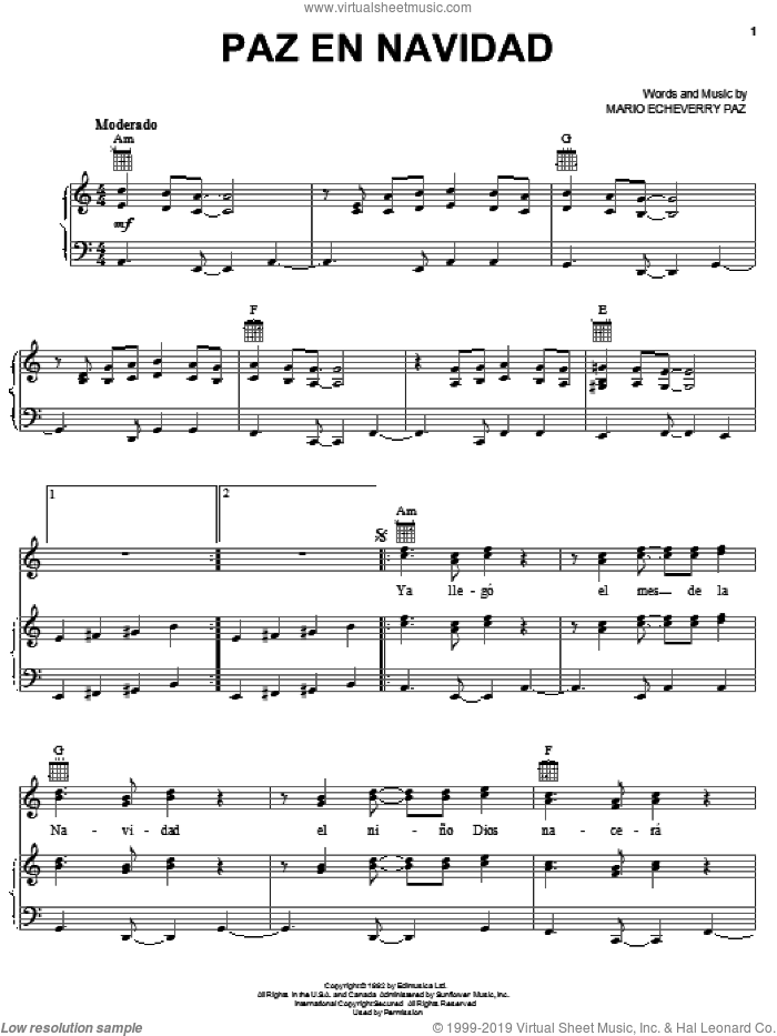 Paz En Navidad sheet music for voice, piano or guitar by Mario Echeverry Paz, intermediate skill level