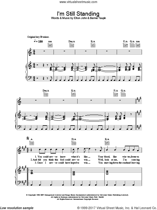 I'm Still Standing sheet music for voice, piano or guitar by Elton John and Bernie Taupin, intermediate skill level