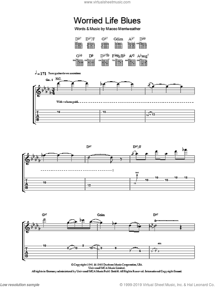 Worried Life Blues sheet music for guitar (tablature) by Robben Ford and Maceo Merriweather, intermediate skill level