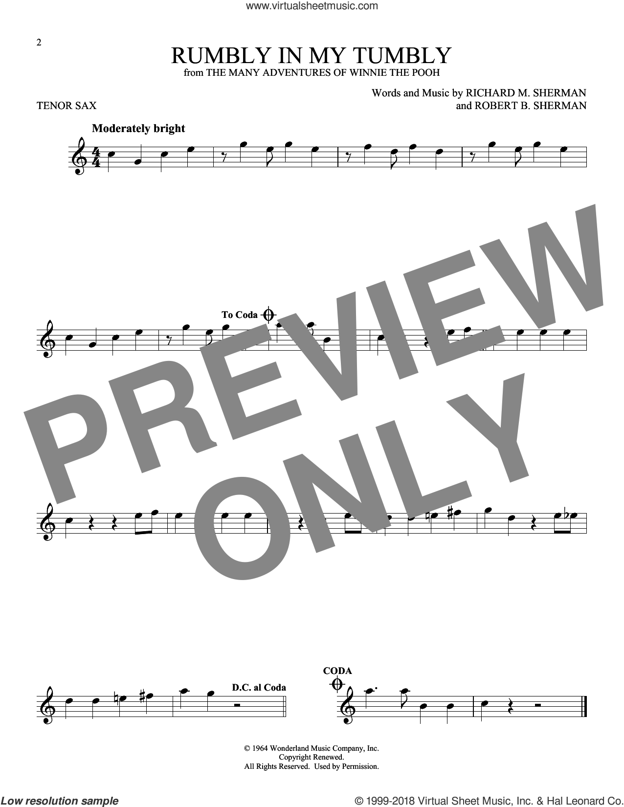Rumbly In My Tumbly sheet music for tenor saxophone solo by Richard M. Sherman and Robert B. Sherman, intermediate skill level