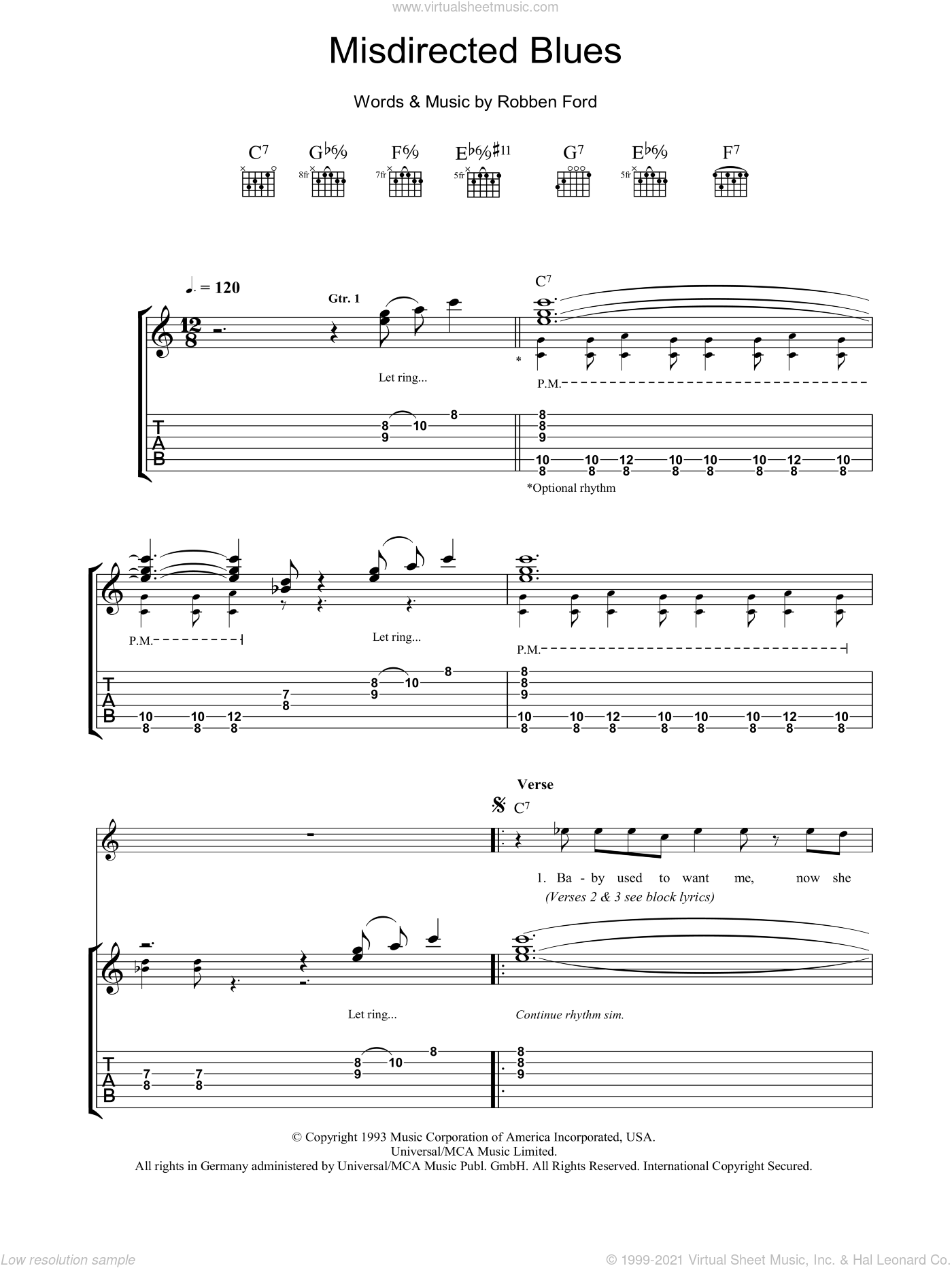 Misdirected Blues sheet music for guitar (tablature) by Robben Ford, intermediate skill level