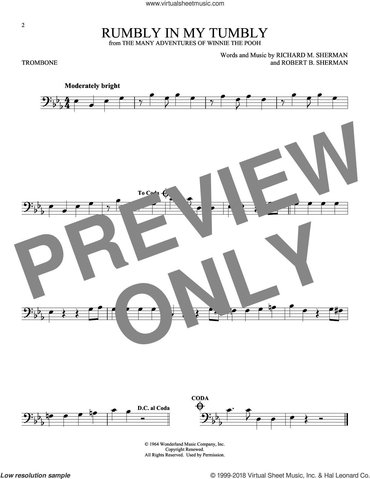 Rumbly In My Tumbly sheet music for trombone solo by Richard M. Sherman and Robert B. Sherman, intermediate skill level