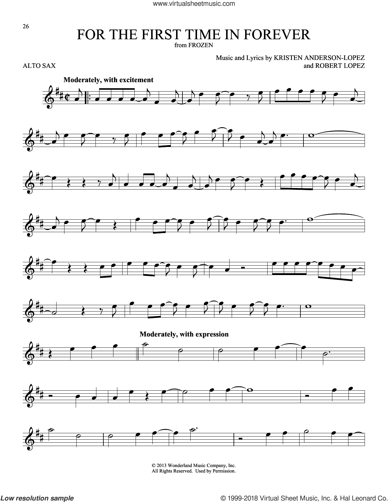 For The First Time In Forever (from Disney's Frozen) sheet music for alto saxophone solo by Kristen Bell, Idina Menzel, Kristen Anderson-Lopez and Robert Lopez, intermediate skill level