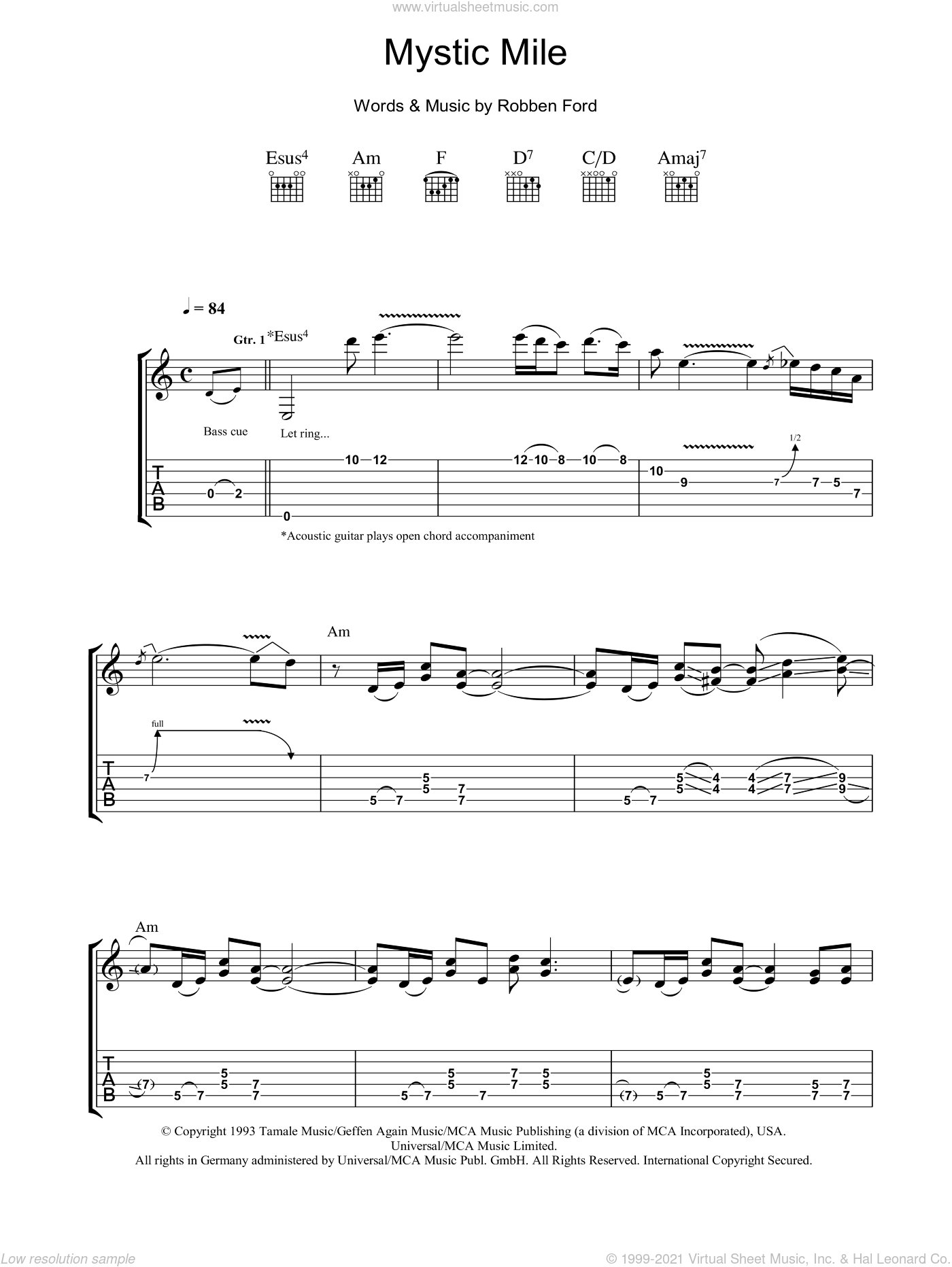 Mystic Mile sheet music for guitar (tablature) by Robben Ford, intermediate guitar (tablature). Score Image Preview.