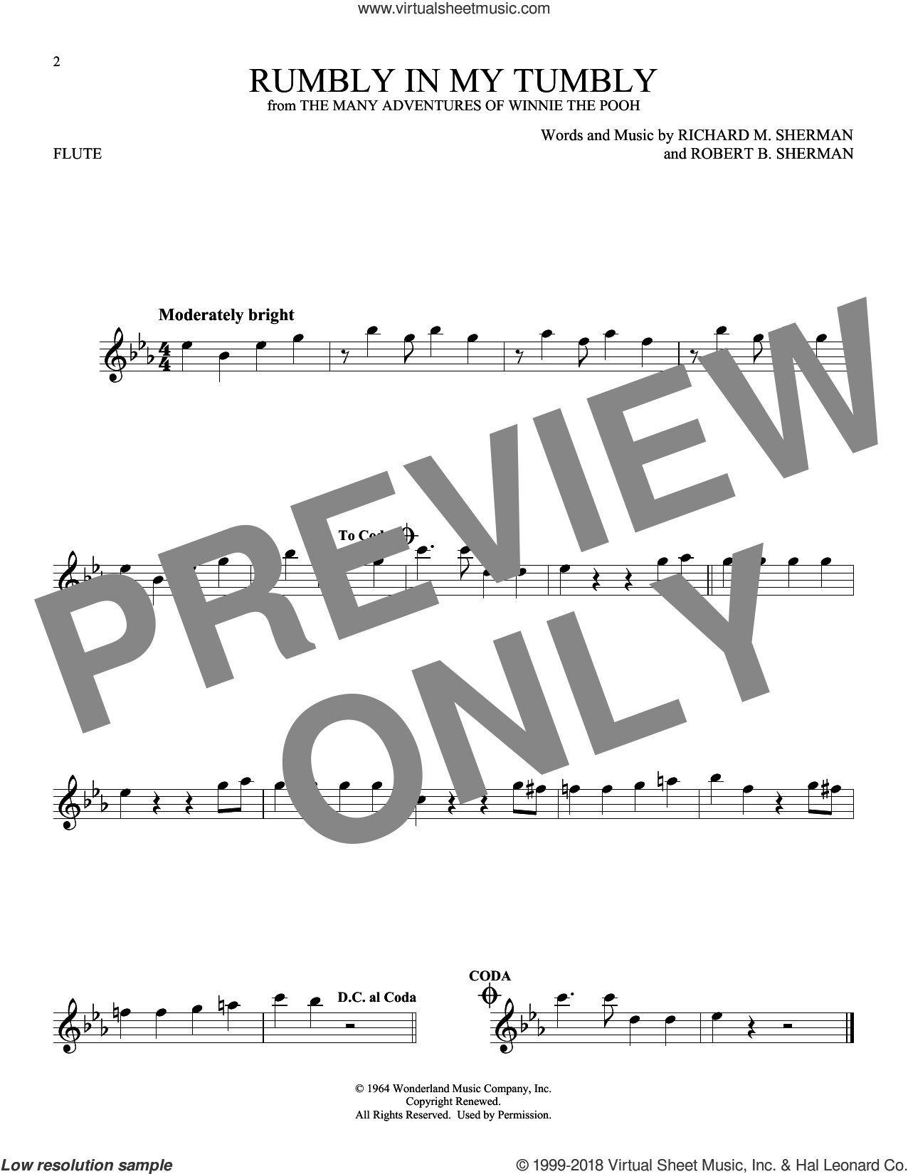 Rumbly In My Tumbly sheet music for flute solo by Richard M. Sherman and Robert B. Sherman, intermediate skill level