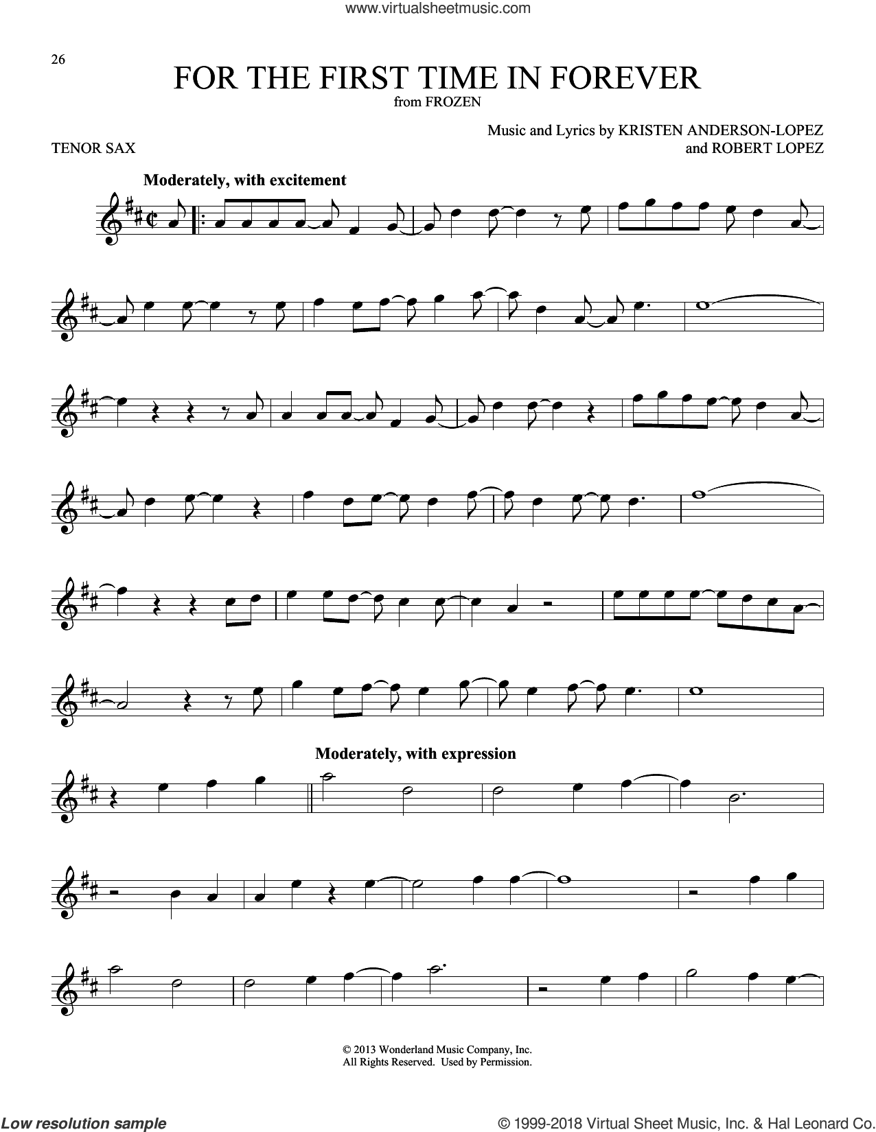For The First Time In Forever (from Disney's Frozen) sheet music for tenor saxophone solo by Kristen Bell, Idina Menzel, Kristen Anderson-Lopez and Robert Lopez, intermediate skill level