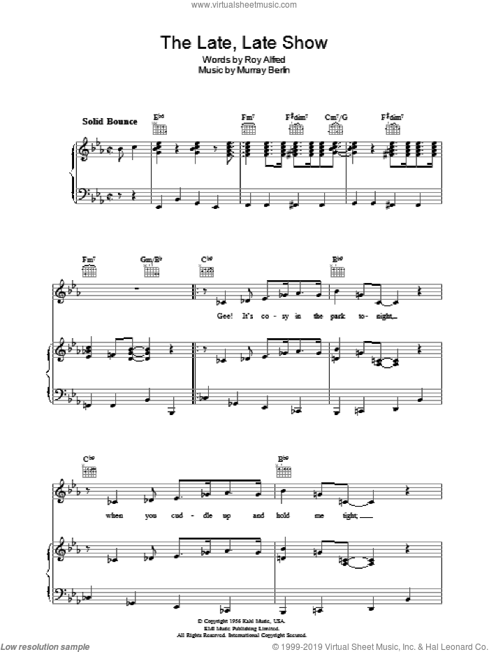 The Late Late Show sheet music for voice, piano or guitar by Roy Alfred. Score Image Preview.