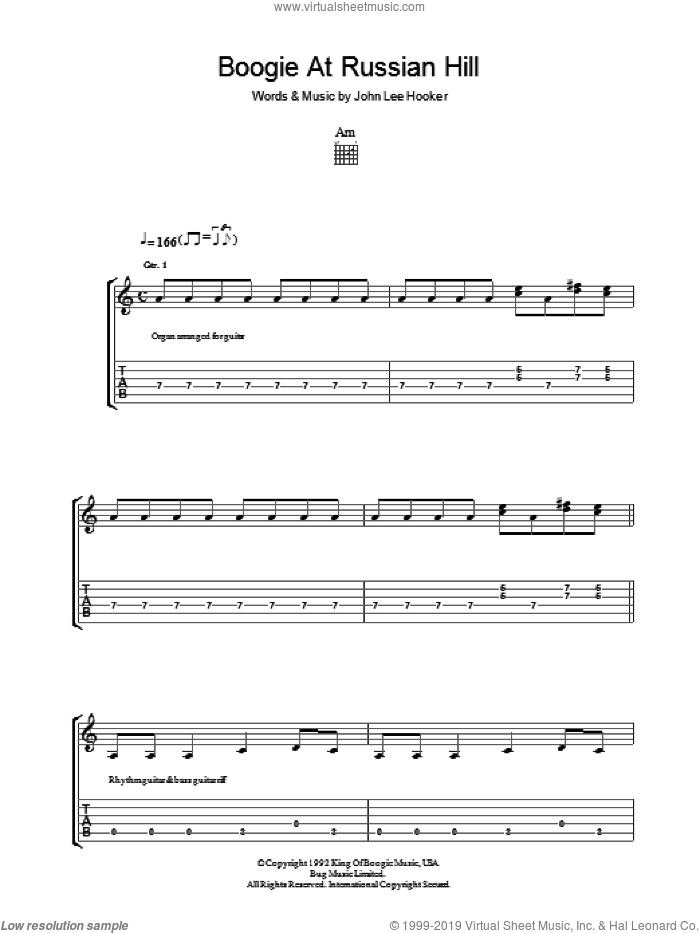 Boogie At Russian Hill sheet music for guitar (tablature) by John Lee Hooker. Score Image Preview.