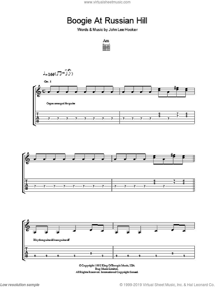 Boogie At Russian Hill sheet music for guitar (tablature) by John Lee Hooker, intermediate skill level