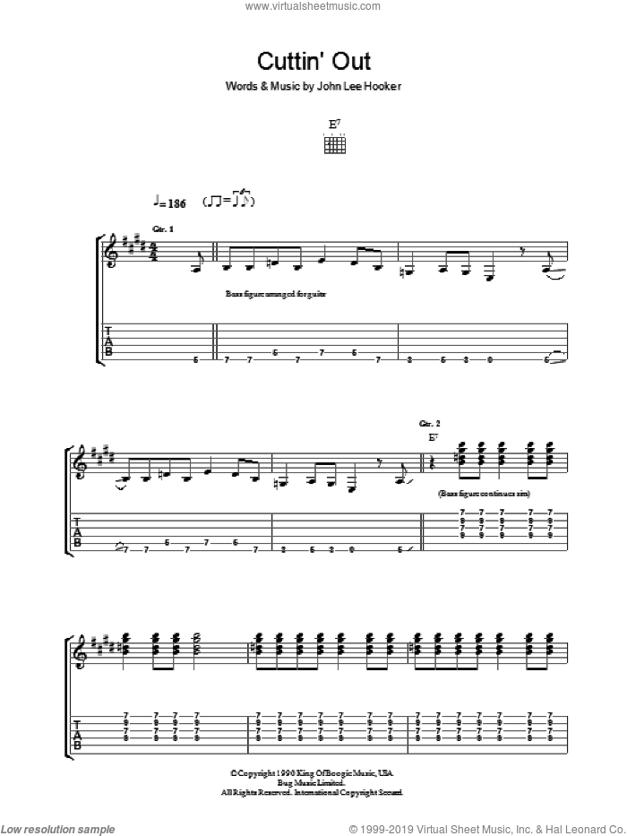 Cuttin' Out sheet music for guitar (tablature) by John Lee Hooker, intermediate skill level