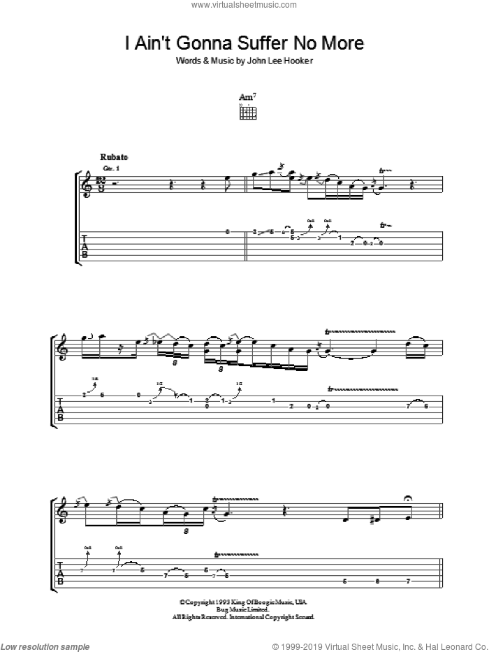 I Ain't Gonna Suffer No More sheet music for guitar (tablature) by John Lee Hooker, intermediate skill level