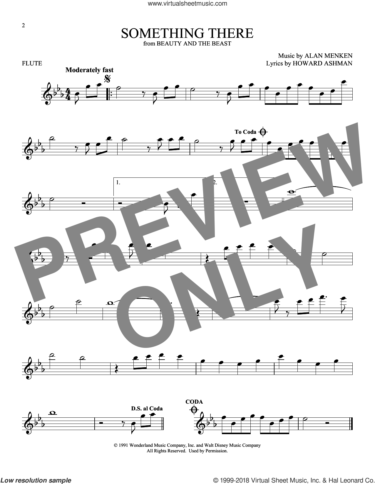 Something There (from Beauty And The Beast) sheet music for flute solo by Alan Menken and Howard Ashman, intermediate skill level
