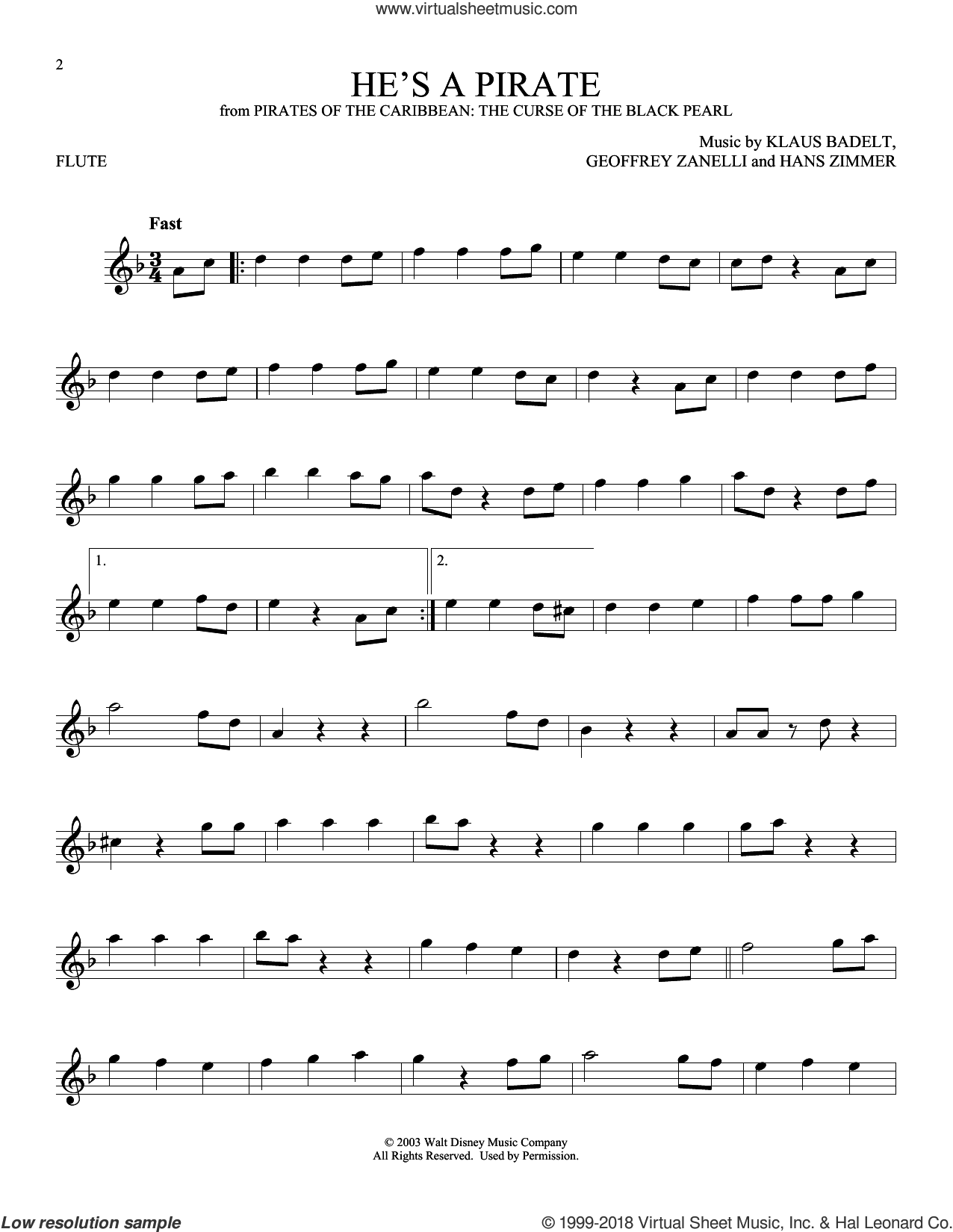 He's A Pirate (from Pirates Of The Caribbean: The Curse of the Black Pearl) sheet music for flute solo by Hans Zimmer, Geoffrey Zanelli and Klaus Badelt, intermediate skill level