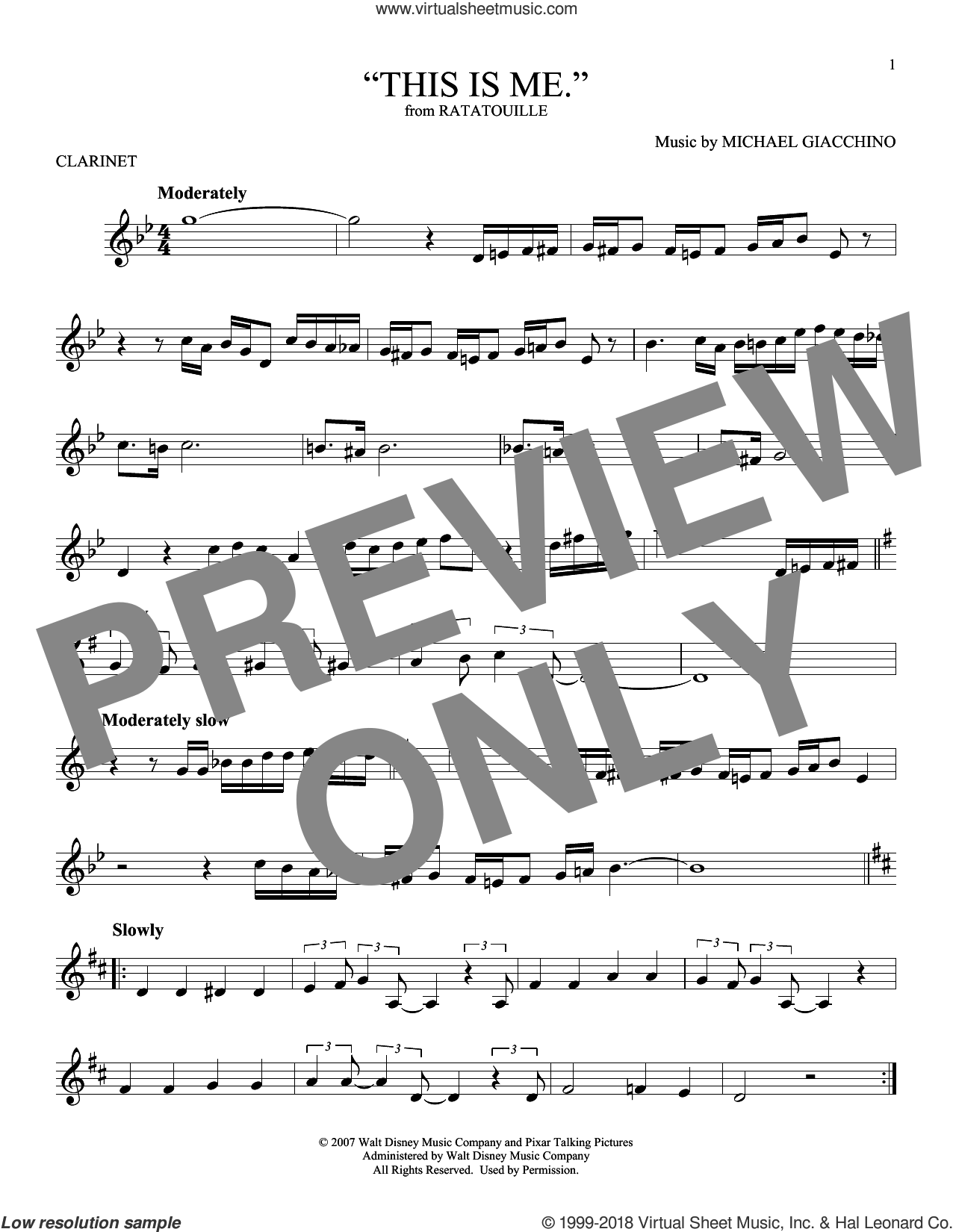 'This is me.' sheet music for clarinet solo by Michael Giacchino, intermediate skill level