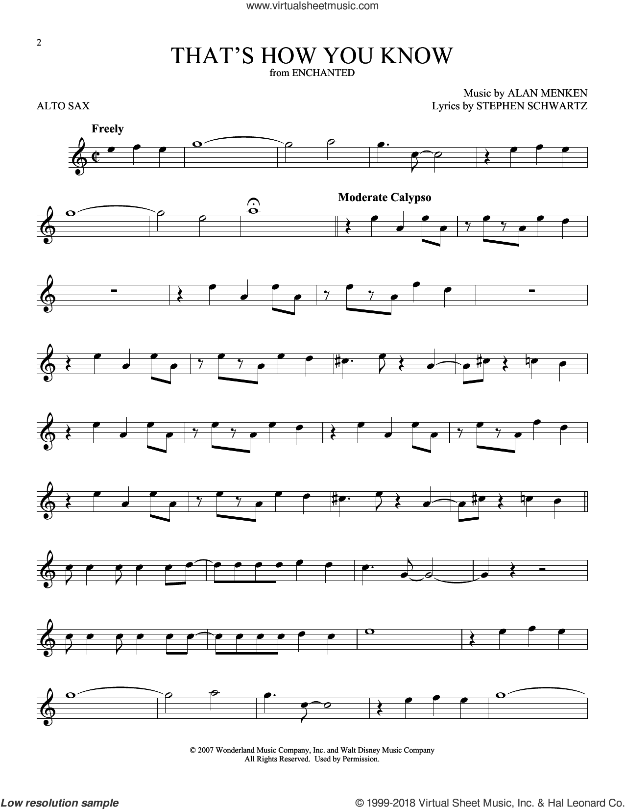 That's How You Know (from Enchanted) sheet music for alto saxophone solo by Alan Menken and Stephen Schwartz, intermediate skill level