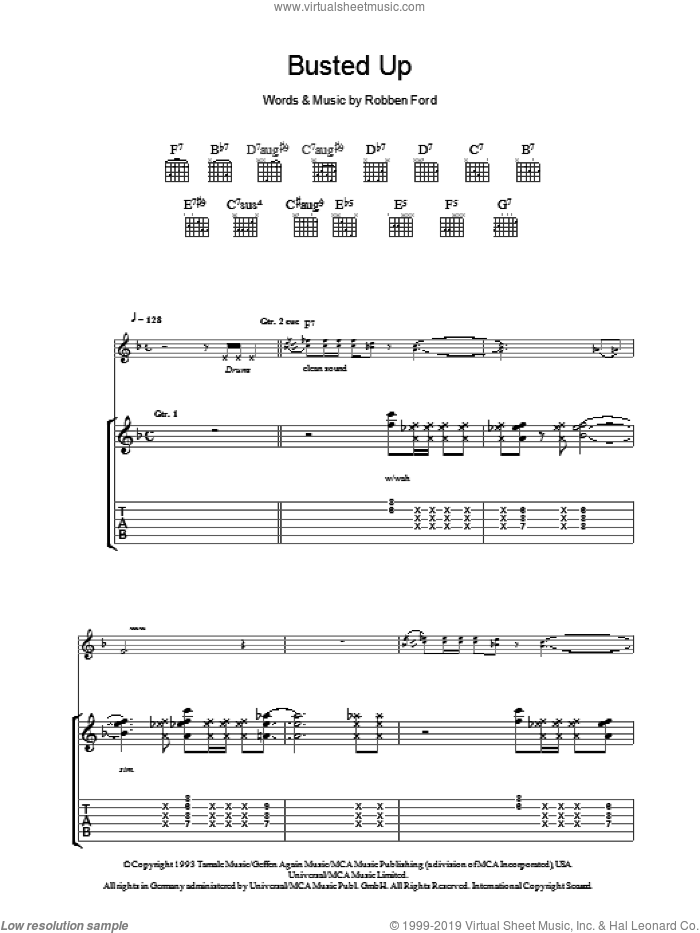Busted Up sheet music for guitar (tablature) by Robben Ford, intermediate skill level
