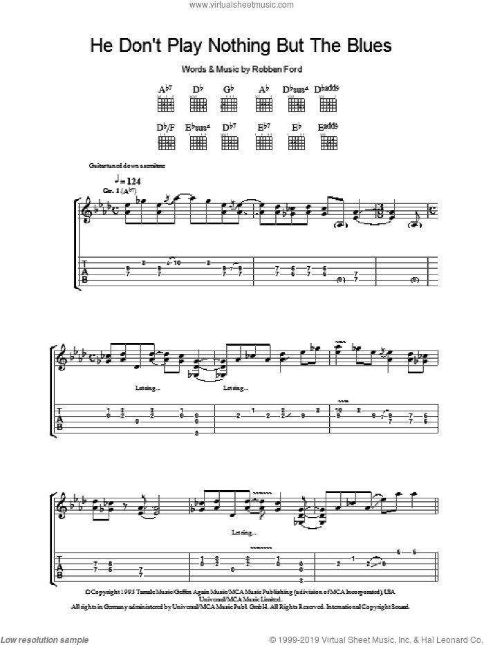 He Don't Play Nothing But The Blues sheet music for guitar (tablature) by Robben Ford, intermediate. Score Image Preview.