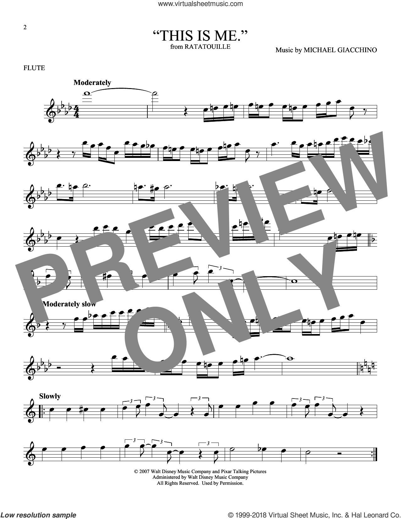 'This is me.' sheet music for flute solo by Michael Giacchino, intermediate skill level