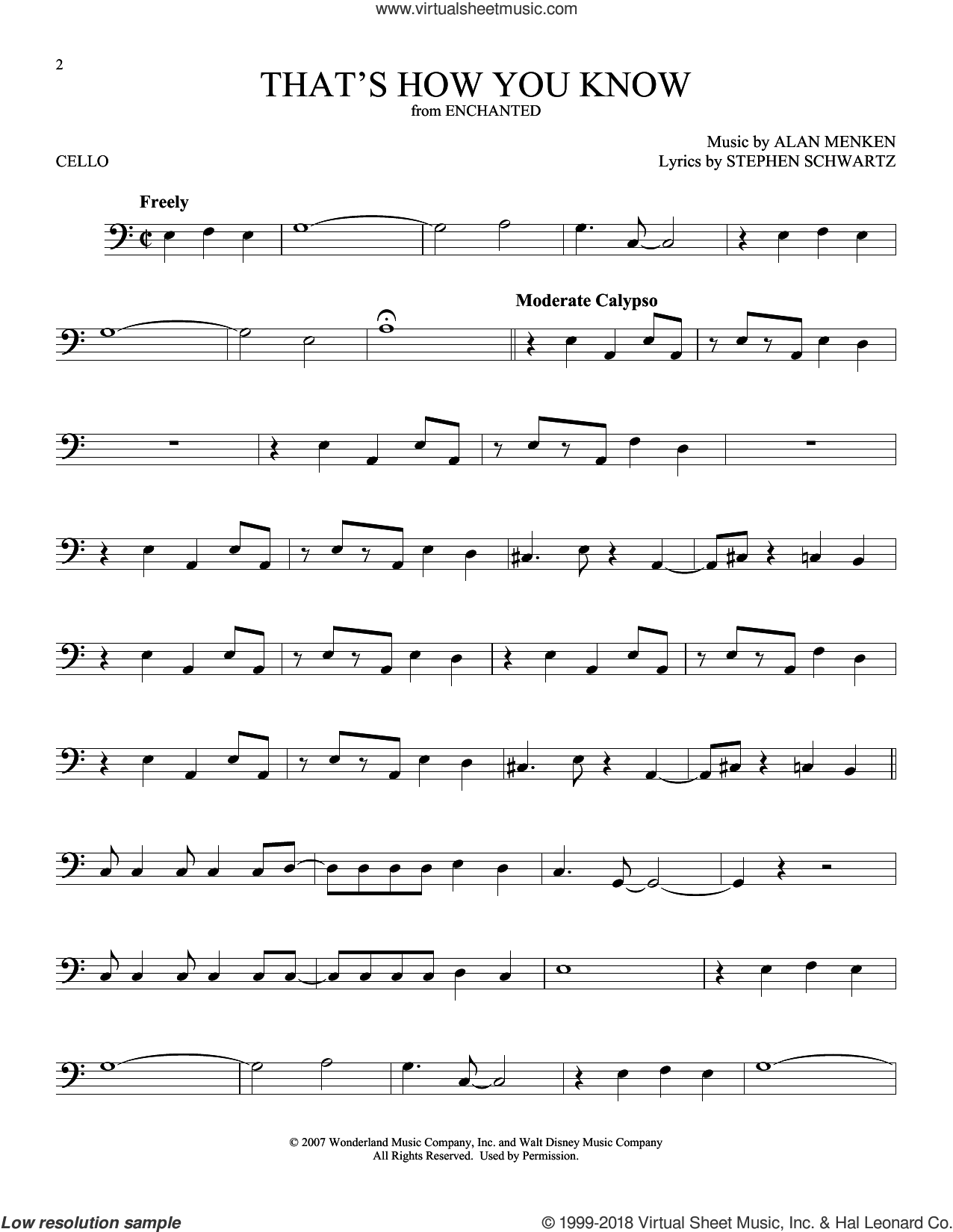 That's How You Know (from Enchanted) sheet music for cello solo by Alan Menken and Stephen Schwartz, intermediate skill level