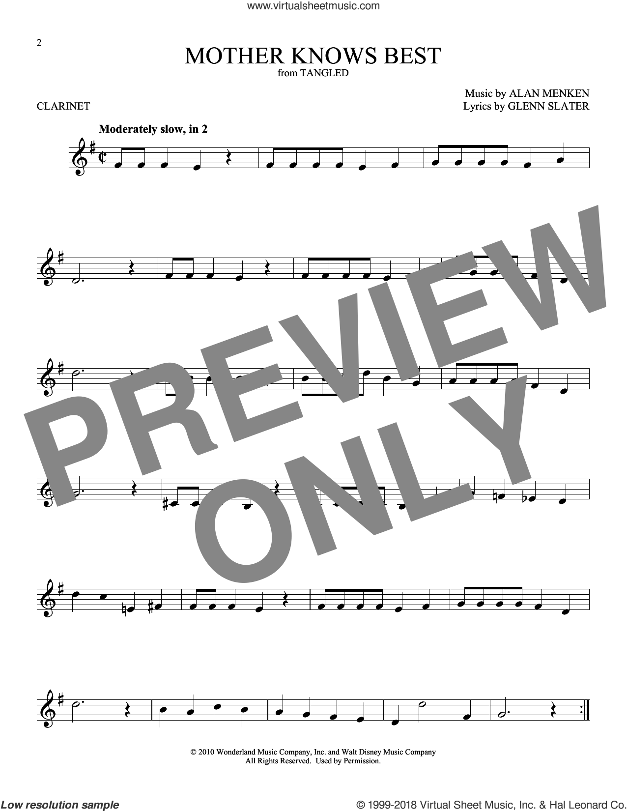 Mother Knows Best (from Disney's Tangled) sheet music for clarinet solo by Alan Menken and Glenn Slater, intermediate skill level