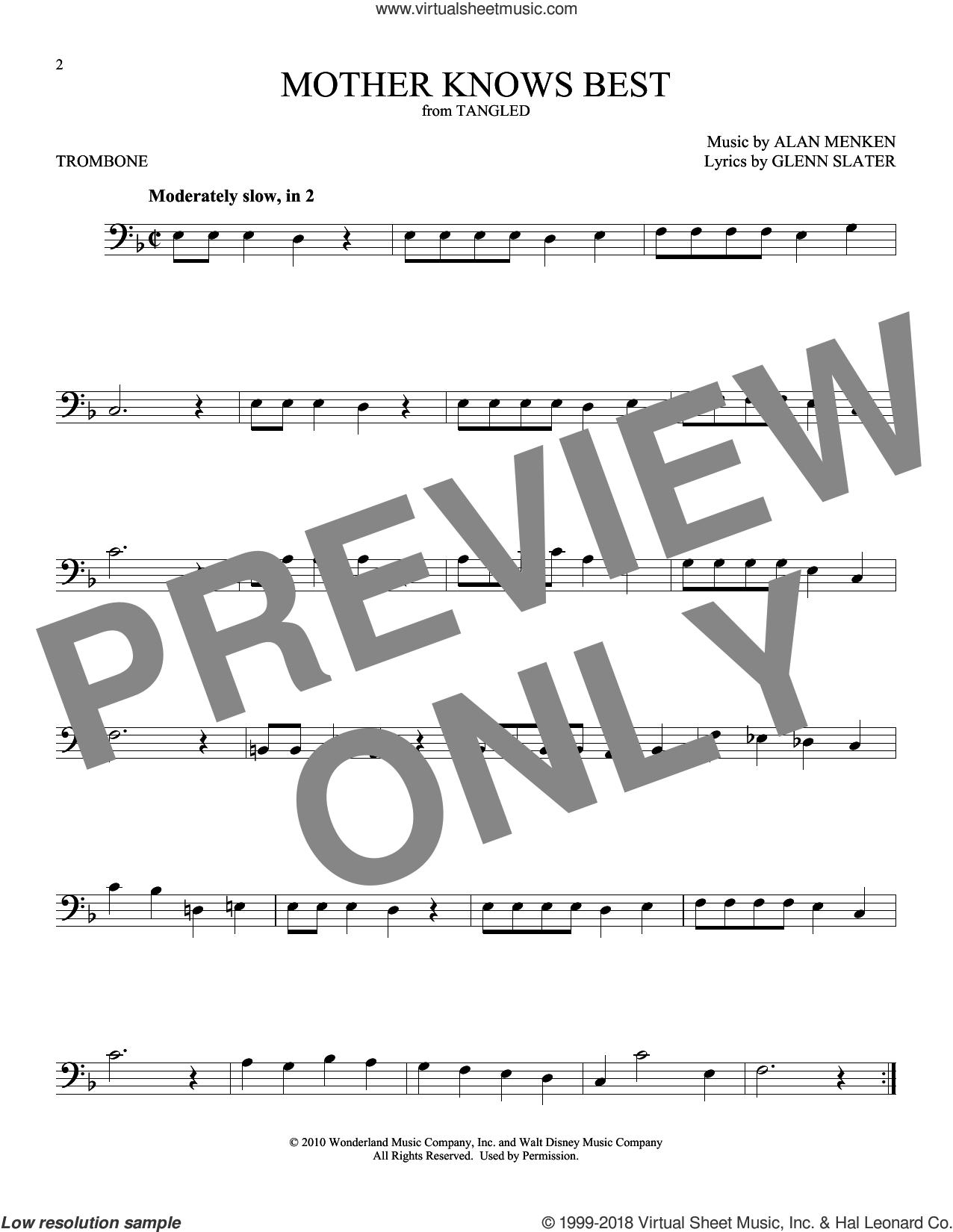 Mother Knows Best (from Disney's Tangled) sheet music for trombone solo by Alan Menken and Glenn Slater, intermediate skill level