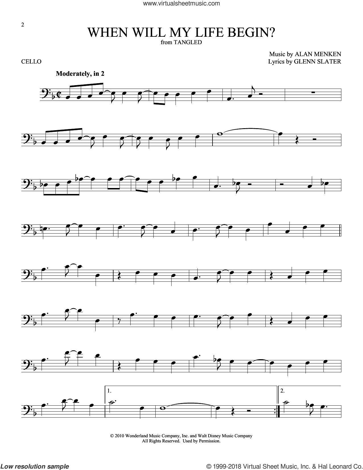 When Will My Life Begin? (from Disney's Tangled) sheet music for cello solo by Mandy Moore, Alan Menken and Glenn Slater, intermediate skill level
