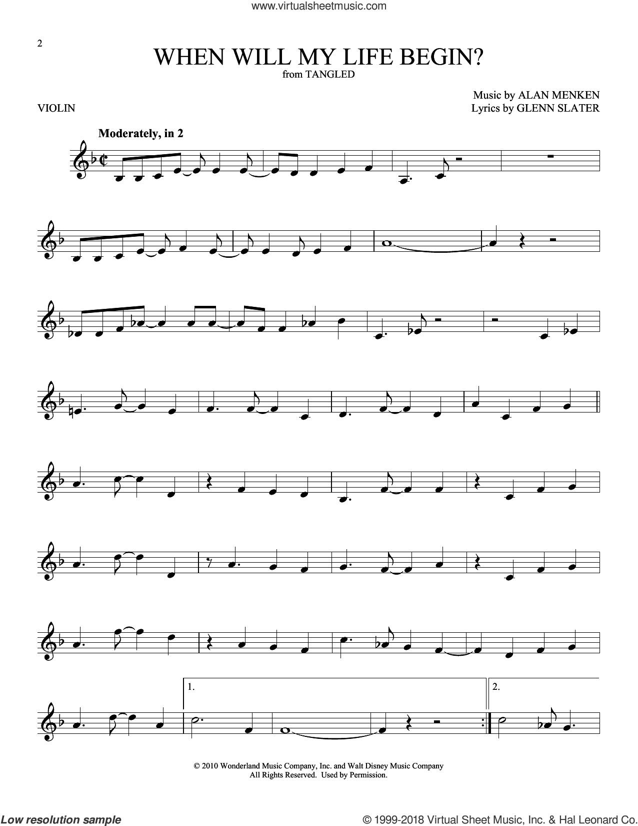 When Will My Life Begin? (from Disney's Tangled) sheet music for violin solo by Mandy Moore, Alan Menken and Glenn Slater, intermediate skill level