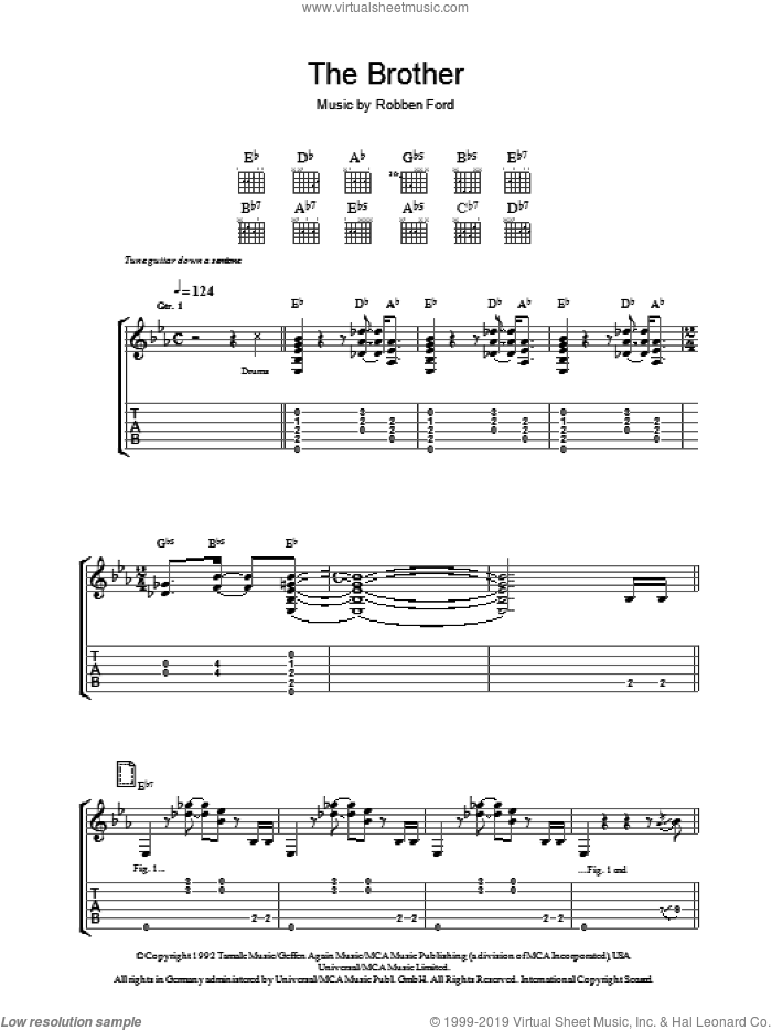 The Brother (For Jimmie And Stevie) sheet music for guitar (tablature) by Robben Ford, intermediate skill level