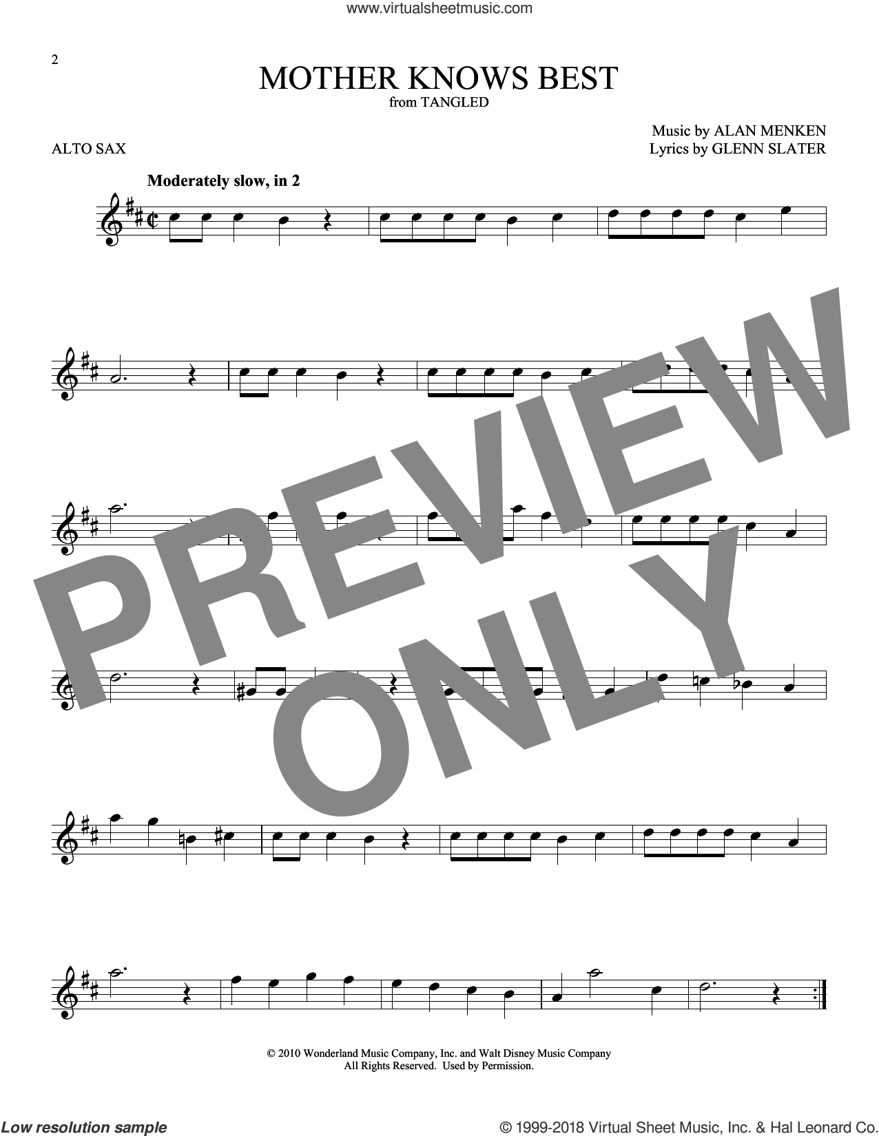 Mother Knows Best (from Disney's Tangled) sheet music for alto saxophone solo by Alan Menken and Glenn Slater, intermediate skill level