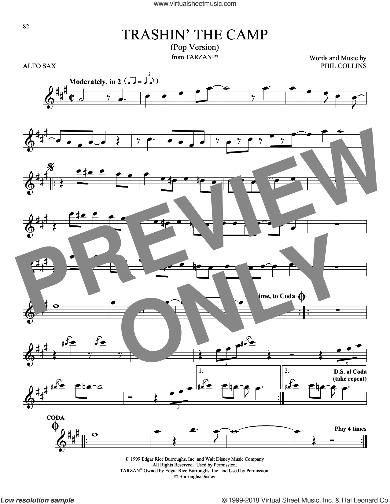 Trashin' The Camp (Pop Version) sheet music for alto saxophone solo by Phil Collins, intermediate skill level