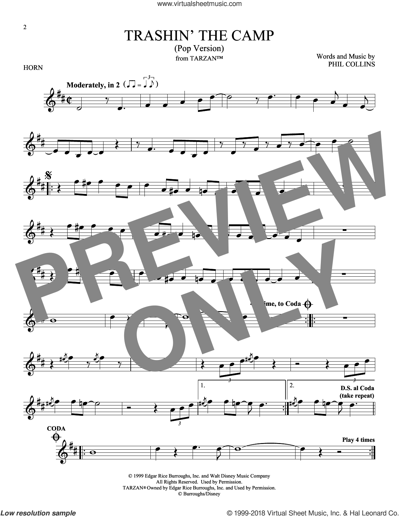 Trashin' The Camp (Pop Version) sheet music for horn solo by Phil Collins, intermediate skill level