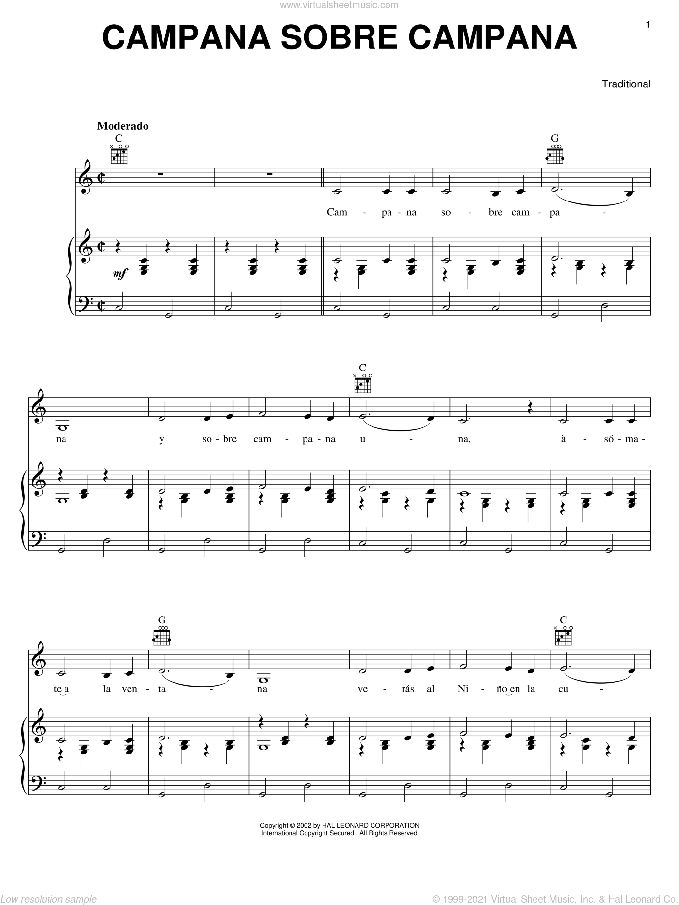 Campana Sobre Campana sheet music for voice, piano or guitar, intermediate skill level