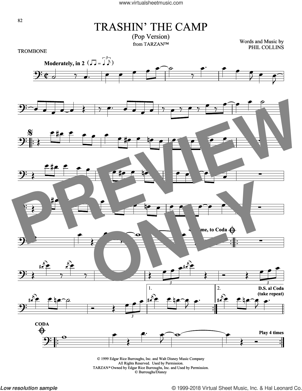 Trashin' The Camp (Pop Version) sheet music for trombone solo by Phil Collins, intermediate skill level