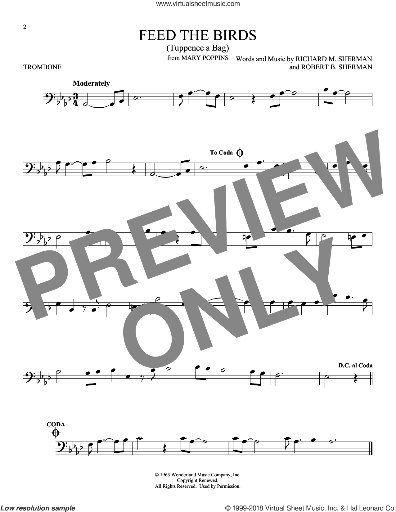 Feed The Birds (Tuppence A Bag) sheet music for trombone solo by Richard M. Sherman and Robert B. Sherman, intermediate skill level