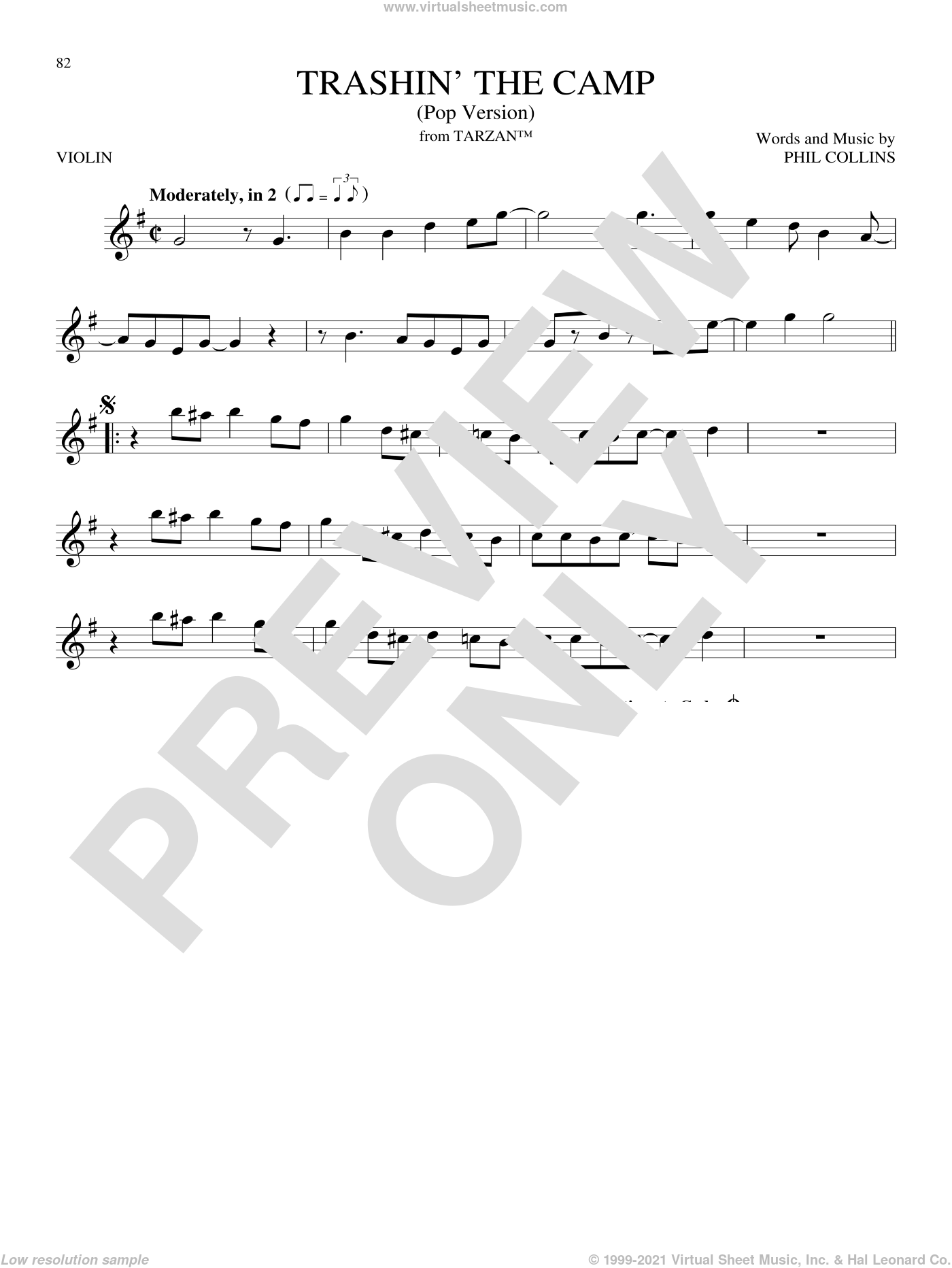 Trashin' The Camp (Pop Version) sheet music for violin solo by Phil Collins, intermediate skill level