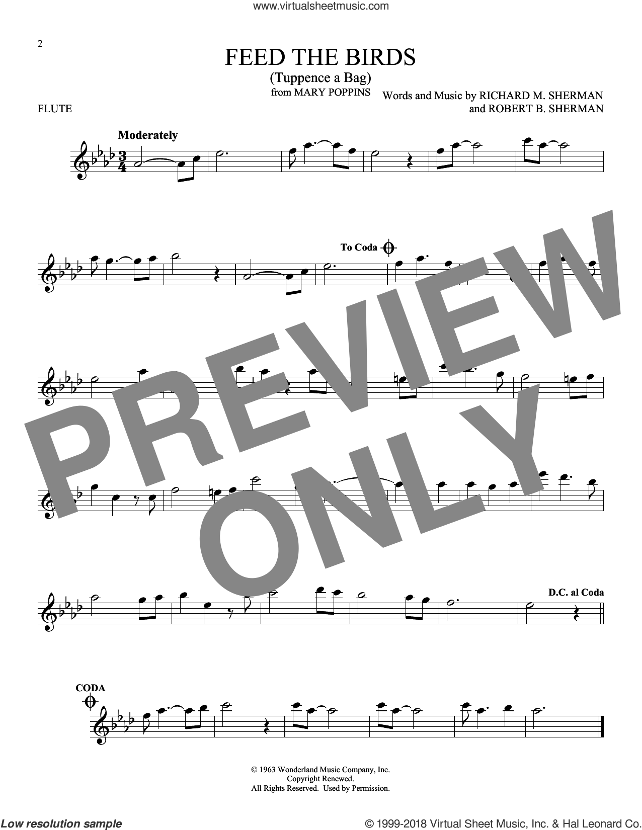 Feed The Birds (Tuppence A Bag) sheet music for flute solo by Richard M. Sherman and Robert B. Sherman, intermediate skill level