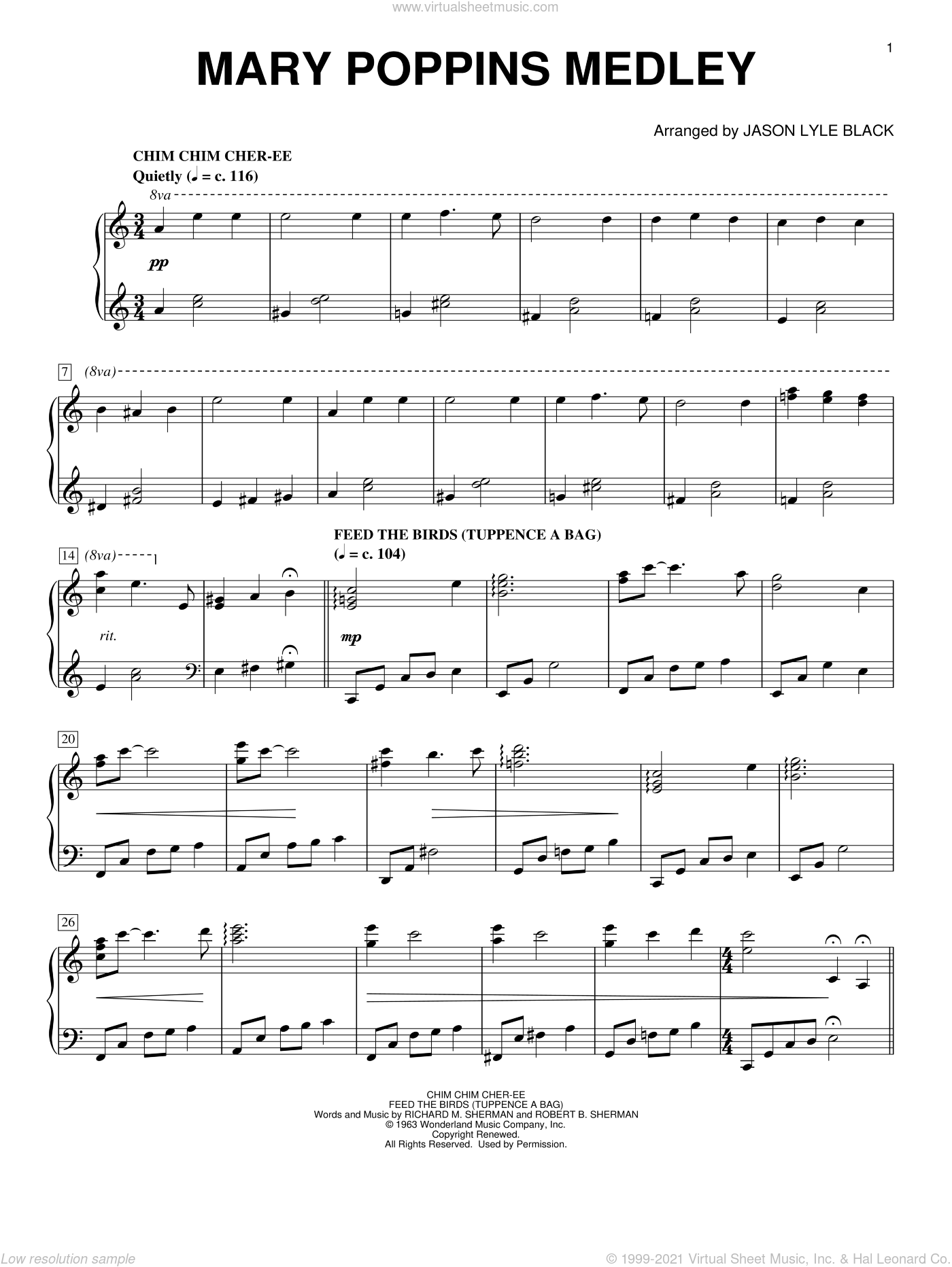 Mary Poppins Medley (arr. Jason Lyle Black) sheet music for piano solo by Richard M. Sherman, Jason Lyle Black, New Christy Minstrels, Robert B. Sherman and Sherman Brothers, intermediate skill level