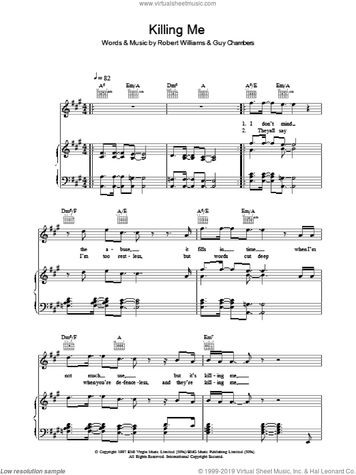 Killing Me sheet music for voice, piano or guitar by Robbie Williams, intermediate voice, piano or guitar. Score Image Preview.