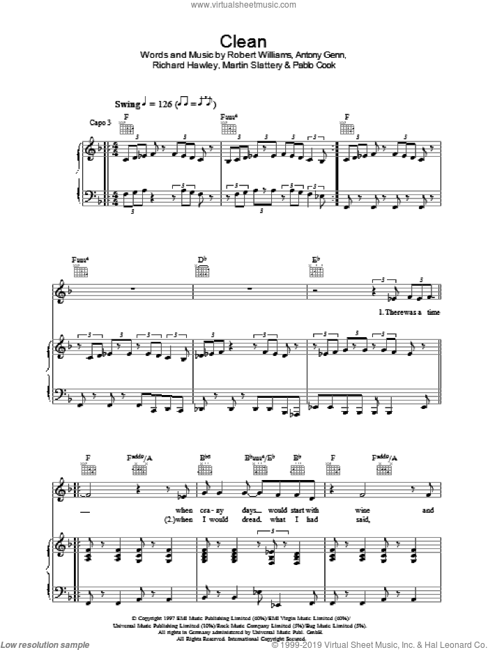 Clean sheet music for voice, piano or guitar by Antony Glenn, Robbie Williams, Paul Cook, Richard Hawley and Robert Williams. Score Image Preview.