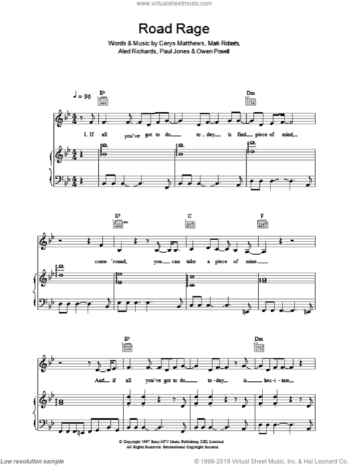 Road Rage sheet music for voice, piano or guitar by Catatonia, intermediate. Score Image Preview.