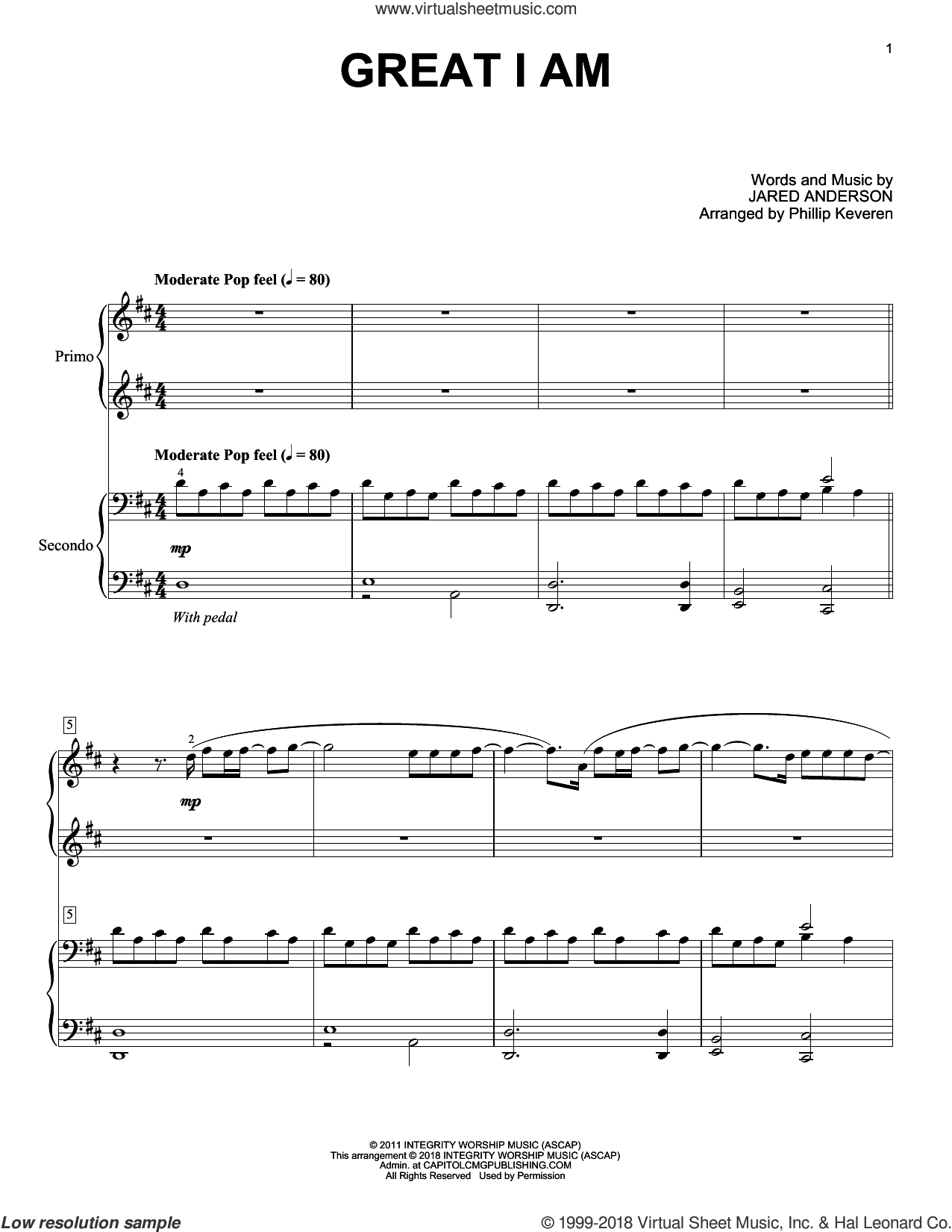 Great I Am sheet music for piano four hands by Jared Anderson and Phillip Keveren, intermediate skill level