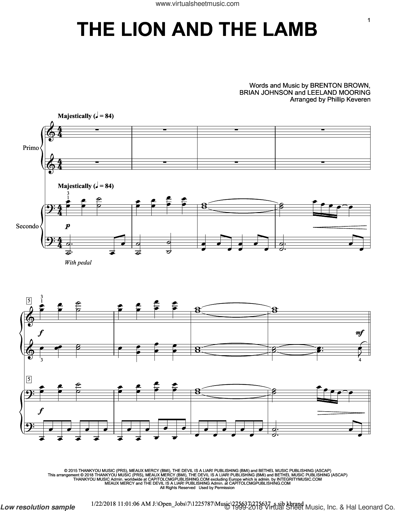 The Lion And The Lamb sheet music for piano four hands by Brian Johnson, Phillip Keveren, Big Daddy Weave, Brenton Brown and Leeland Mooring, intermediate skill level
