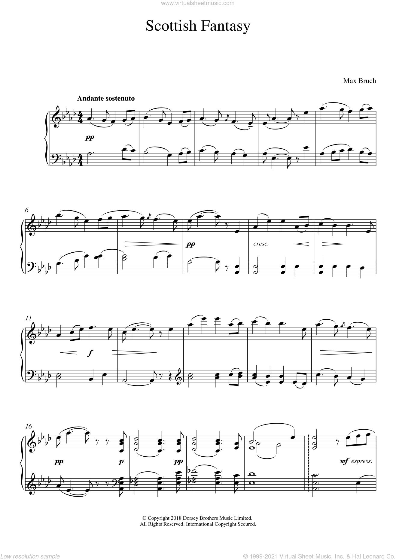 Scottish Fantasy, Op. 46 sheet music for piano solo by Max Bruch, classical score, intermediate skill level