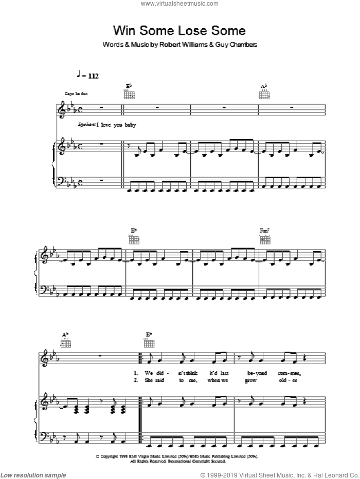 Win Some Lose Some sheet music for voice, piano or guitar by Robbie Williams. Score Image Preview.
